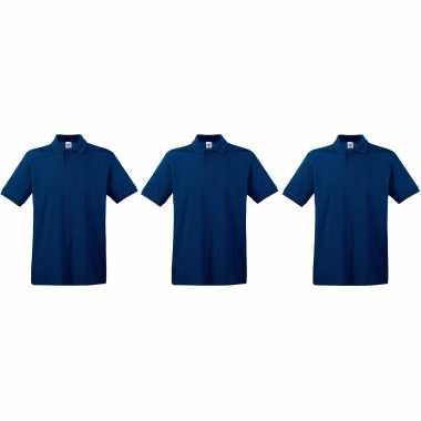 3-pack maat l - premium polo t-shirts / poloshirts donkerblauw/navy van katoen voor heren