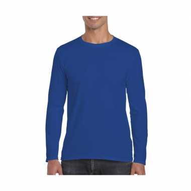 Basic heren t-shirt kobalt blauw met lange mouwen