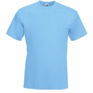 Basis heren t-shirt licht blauw met ronde hals