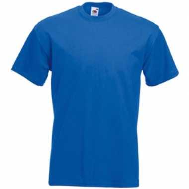 Blauw fruit of the loom tshirt ronde hals kobalt