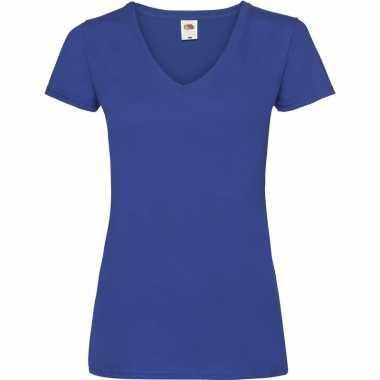 Blauw katoenen dames t-shirts met v-hals