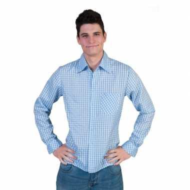 Geruit Overhemd Heren.Blauw Met Wit Geruite Blouse Voor Heren Blauw T Shirt Nl