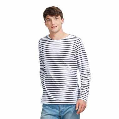 Blauw  Schipper t-shirt lange mouw voor heren