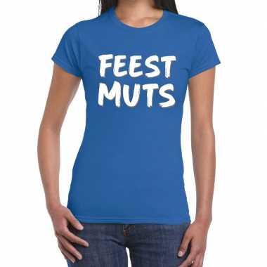Blauw t-shirt feestmuts voor dames