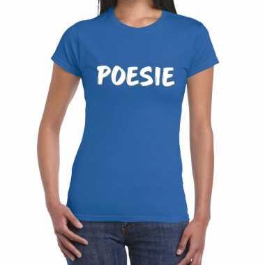 Blauw t-shirt poesie voor dames