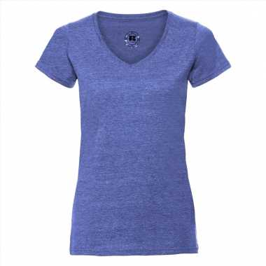 Denim blauwe dames t-shirts met v-hals