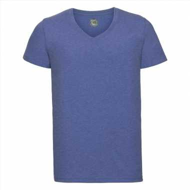 Denim blauwe heren t-shirts met v-hals