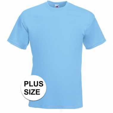 Grote maten basis heren t-shirt licht blauw met ronde hals