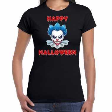 Halloween clown blauw horror shirt zwart voor dames