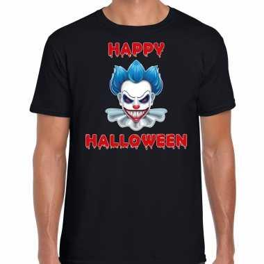 Halloween clown blauw horror shirt zwart voor heren