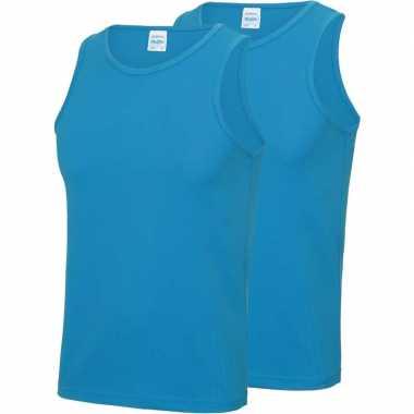 Multipack 2x maat s - sportkleding sneldrogende mouwloze shirts blauw