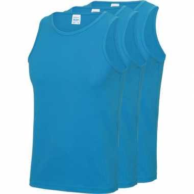 Multipack 3x maat m - sportkleding sneldrogende mouwloze shirts blauw