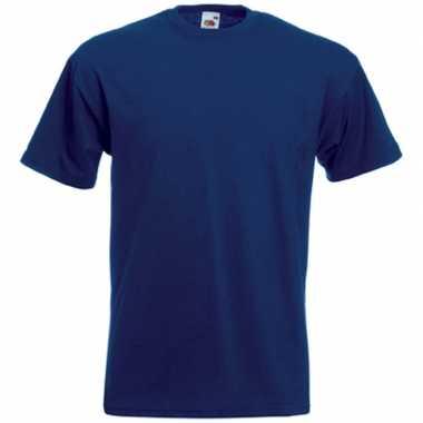 Set van 2x stuks basis heren t-shirt donker blauw met ronde hals, maat: l (40/52)