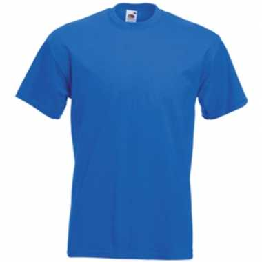 Set van 3x stuks basis heren t-shirt kobalt blauw met ronde hals, maat: 2xl (44/56)