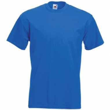 Set van 3x stuks basis heren t-shirt kobalt blauw met ronde hals, maat: l (40/52)