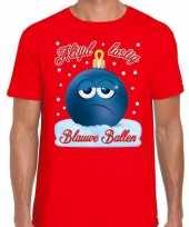 Fout kerstborrel t shirt kerstshirt blauwe ballen rood voor heren