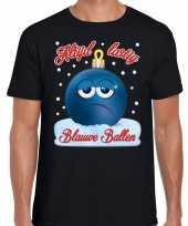 Fout kerstborrel t shirt kerstshirt blauwe ballen zwart voor heren